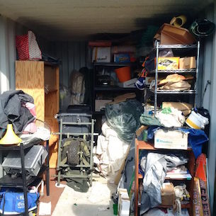 The inside of our storage container pre-spring clean